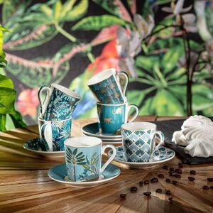 Espresso porcelánový servis Jungle Turquise 6x100ml